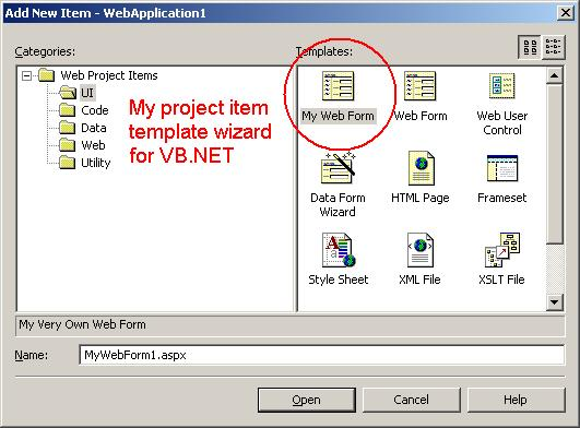 Adding Custom VB.NET Project Item Template Wizards to VS.NET