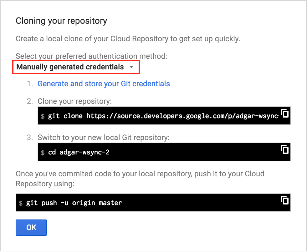 Access Google Cloud Source Repositories from Visual Studio